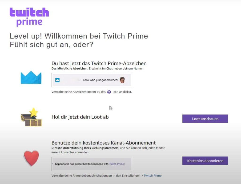 Бесплатный Twitch Prime зарегистрированный