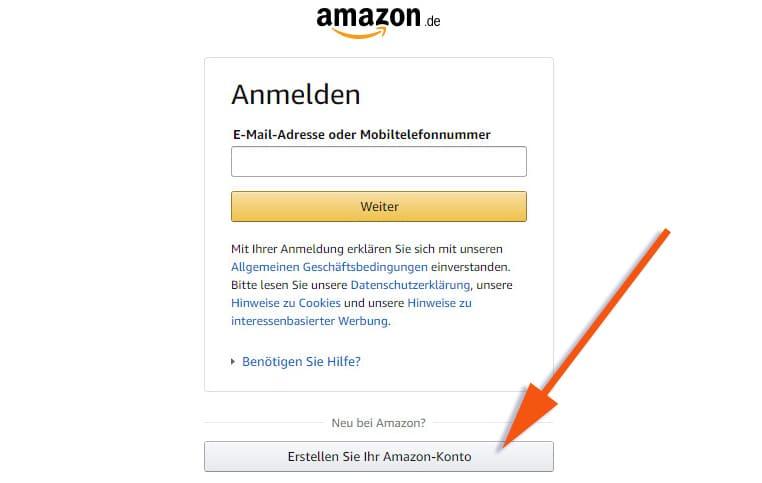 Кнопка регистрации нового аккаунта Амазон