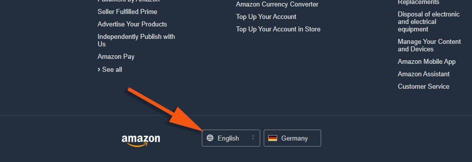 Удобнее работать с Амазоном на английском языке. Смените его в самом низу страницы.