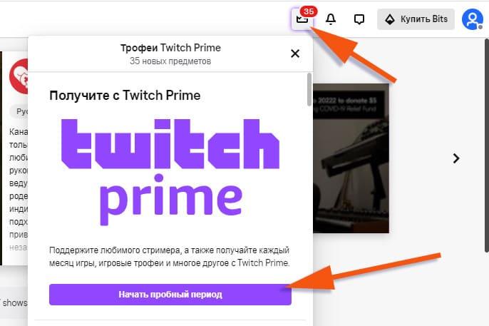 Пробный период Twitch Prime